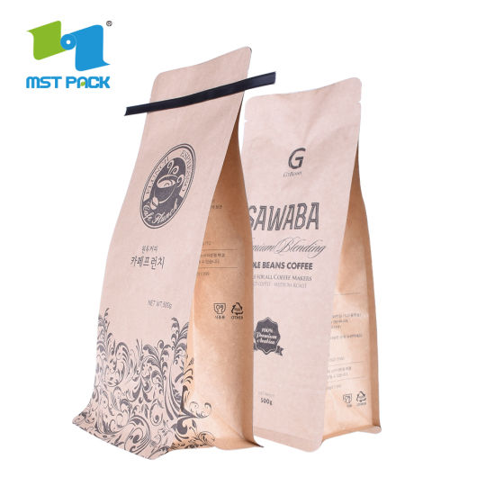 Eco Friendly 1 kg 32 oz Café Compostable Envasado Bolsa de Cremallera de Papel Biodegradable con Válvula